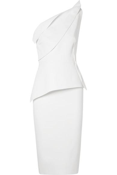ROLAND MOURET Mendes one-shoulder wool-crepe dress