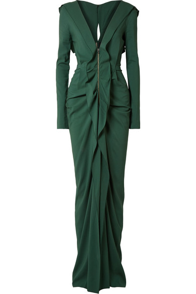 Compeyson cutout ruffled stretch-crepe gown