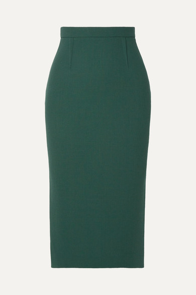 Roland Mouret - Arreton Wool-crepe Pencil Skirt - Emerald
