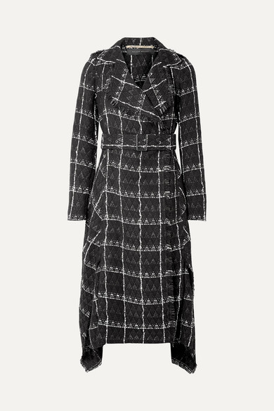 Frayed Checked Coated Cotton-Blend Coat, Black