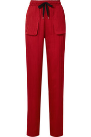 Huddersfield hammered silk-satin straight-leg pants