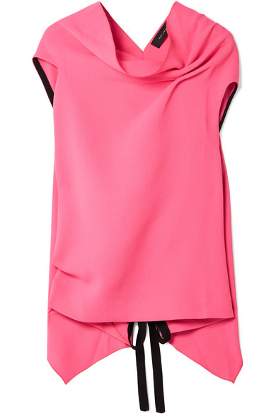 Roland Mouret - Eugene Open-back Draped Wool-crepe Top - Bright pink