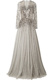 Blanche metallic sequined tulle gown