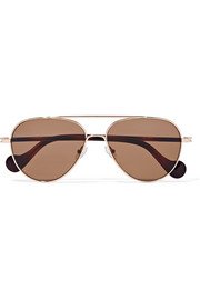 Moncler Aviator-style rose gold-tone sunglasses