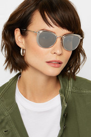 Moncler Round-frame palladium-tone and acetate mirrored sunglasses