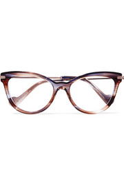 Moncler Cat-eye tortoiseshell acetate and silver-tone optical glasses