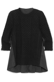 Oversized paneled cable-knit wool and poplin top