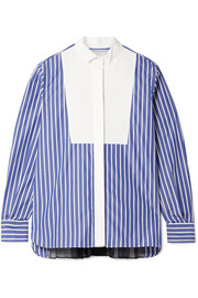 Piqué and organza-trimmed striped cotton-poplin shirt