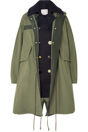 Sacai Layered wool and cotton-blend twill coat