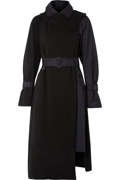 Sacai - Wool And Cotton-gabardine Trench Coat - Black