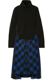 Chiffon-trimmed wool and checked cotton turtleneck midi dress