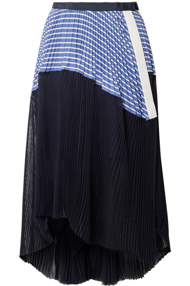 Sacai - Piqué And Organza-trimmed Striped Cotton-poplin Skirt - Navy