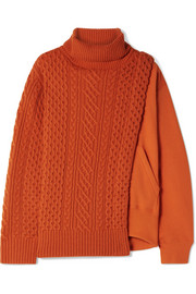 Layered wool and French cotton-terry turtleneck sweater