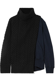 Sacai Cable-knit wool and cotton-terry turtleneck sweater