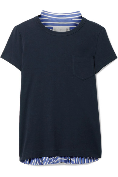 Sacai - Cotton-jersey And Striped Cotton-poplin T-shirt - Navy