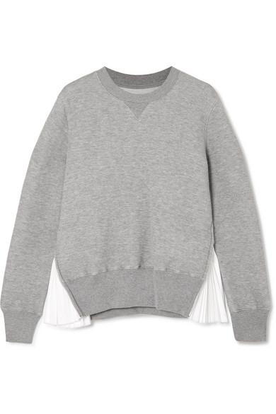 Sacai - Zip-detailed Poplin-paneled Cotton-blend Jersey Sweatshirt - Light gray