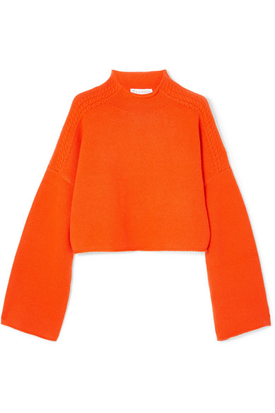 ace1ed5dafe Oversized cropped cable-knit wool and cashmere-blend sweater