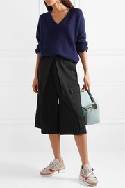 Pinstriped wool-blend culottes