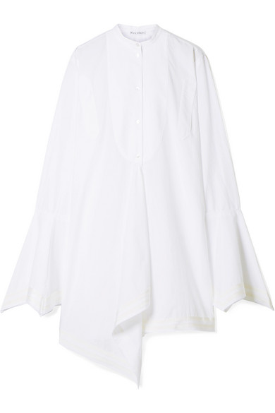 Mandarin-Collar Bell-Sleeve Button-Front Cotton Shirt W/ Striped Border Trim in White