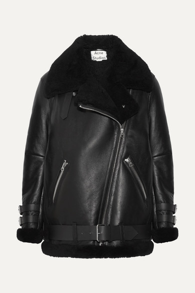 Velocite Leather Oversized Jacket - Black, Black Size 40 Eu
