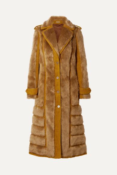 Faux Fur-Trimmed Jute-Blend Coat in Saffron