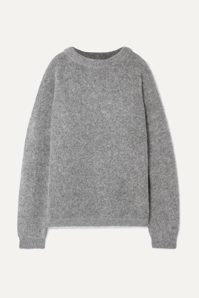 Dramatic Oversized Knitted Sweater in Grey Melang