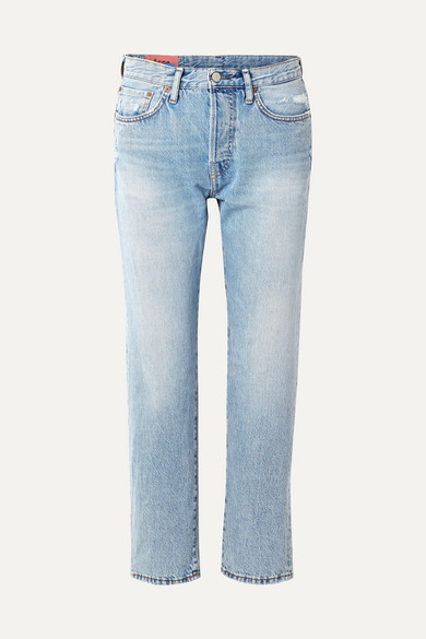 1997 Distressed High-Rise Straight-Leg Jeans in Light Blue