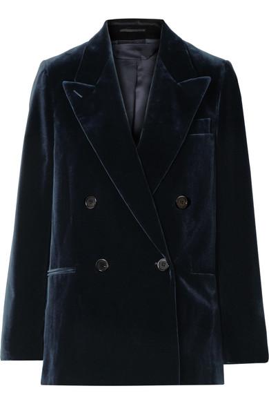 Double-Breasted Cotton-Velvet Blazer in Navy