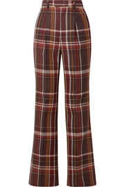 Acne Studios Checked wool and silk-blend flared pants