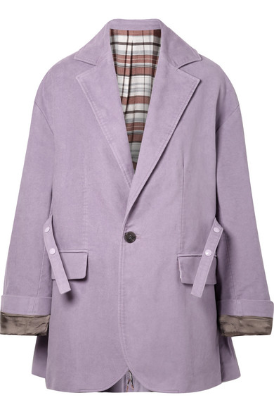 Oversized Single-Breasted Cotton Blazer in Lilac