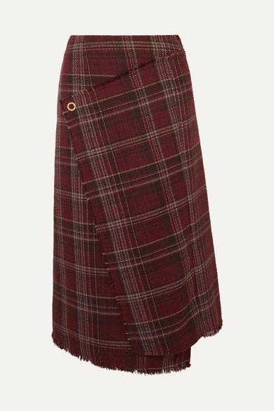 Checked Tweed Wrap-Effect Skirt in Burgundy