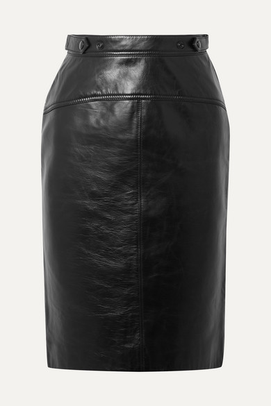 Leather Pencil Skirt in Black