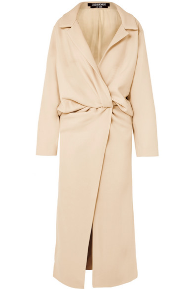 JACQUEMUS Vaal Twist-Front Canvas Coat in Beige
