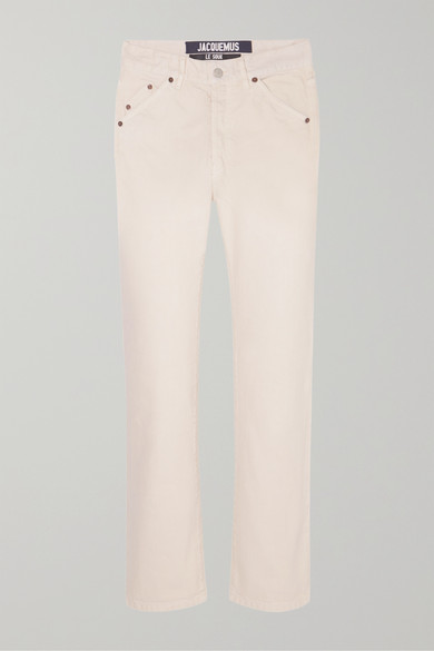 Cropped Mid-Rise Straight-Leg Jeans in Ecru