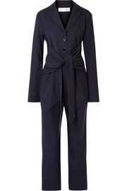 Tie-front silk-trimmed stretch-twill jumpsuit