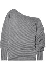 Victoria, Victoria Beckham One-shoulder ribbed merino wool sweater