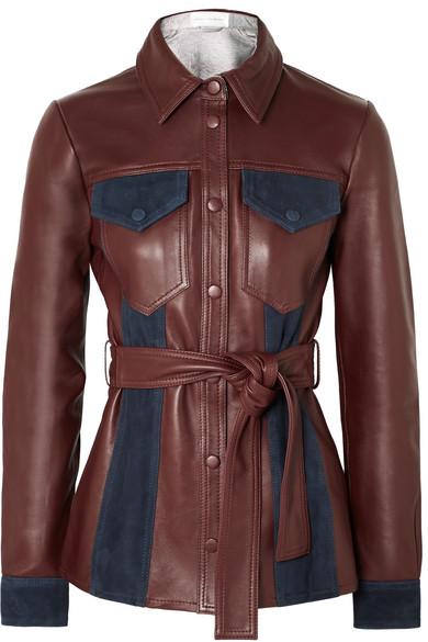 VICTORIA VICTORIA BECKHAM Suede-paneled leather jacket