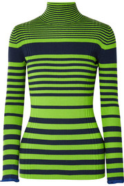 Victoria, Victoria Beckham Striped ribbed wool-blend turtleneck sweater
