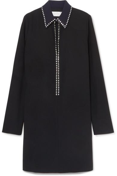 Crystal-Embellished Crepe Mini Dress in Black