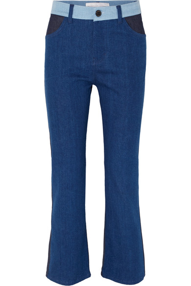 Victoria, Victoria Beckham - Cali Color-block Mid-rise Straight-leg Jeans - Mid denim