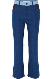 Cali color-block mid-rise straight-leg jeans