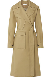 Avery oversized belted two-tone cotton-twill trench coat