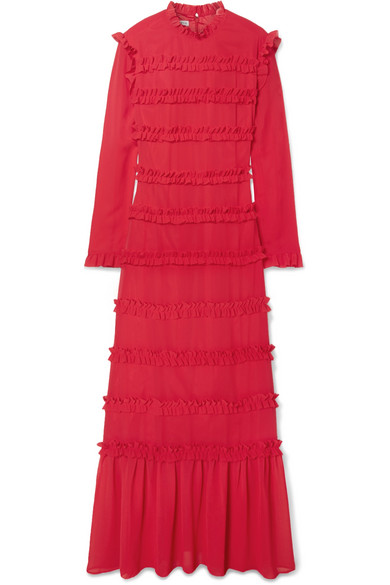 Hadley Ruffled Chiffon Maxi Dress, Red