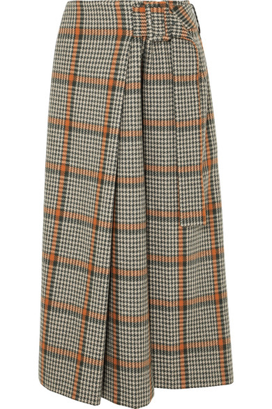 Ellis Checked Wool-Blend Wrap Skirt, Brown