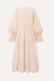 Lois linen-blend and organza maxi dress