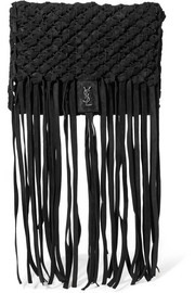Saint Laurent Fringed woven suede clutch