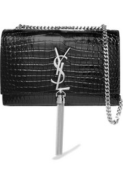 Saint Laurent Monogramme Kate croc-effect leather shoulder bag