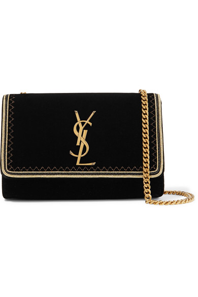 Monogramme Kate Small Lurex Trimmed Velvet Shoulder Bag by Saint Laurent