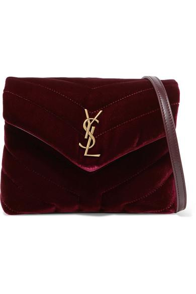 Loulou Quilted Velvet Shoulder Bag by Saint Laurent