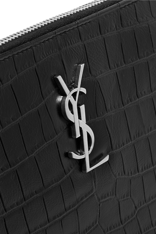 SAINT LAURENT Monogramme croc-effect leather pouch